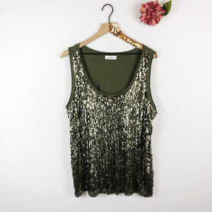 [CALVIN KLEIN] Sleeveless Scoop Neck Sequin Tank